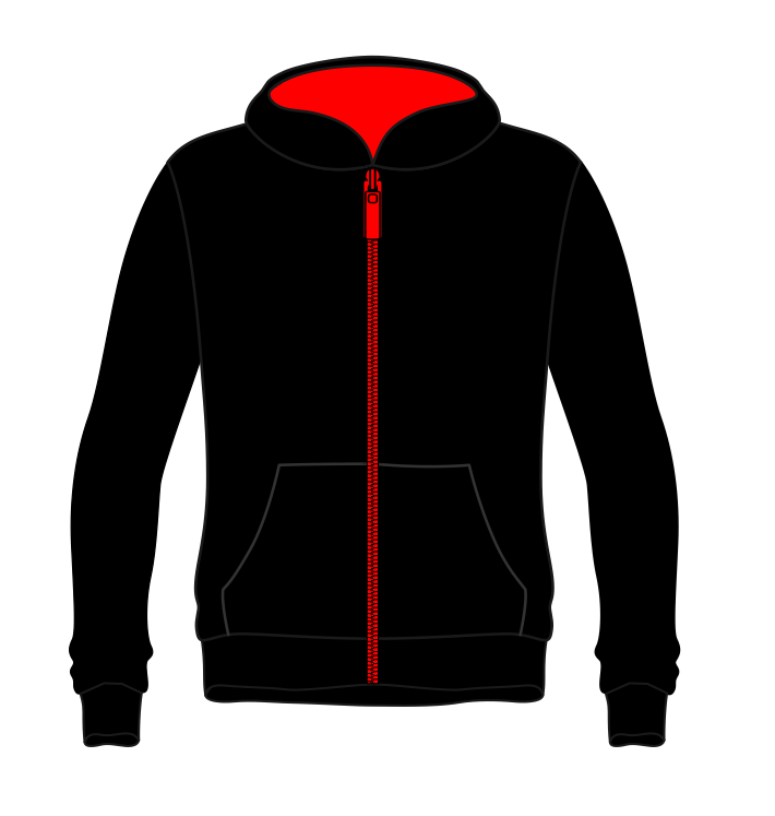 Activ8 Zipped Hoodie in Black/Red with logo to back
